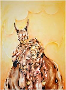 bruce et jack (aquarelle sur carton bois - 60x80cm)