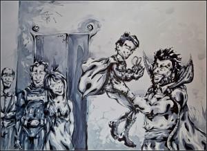 la famille wayne (aquarelle sur bristol - 50x70cm)