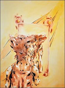 miroir (aquarelle sur carton bois - 60x80cm)