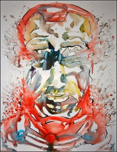 tony stark (aquarelle sur carton plume - 50x65 cm)