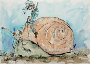 escargot de combat - Aquarelle format A4 - 40€