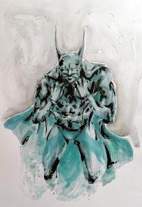 Batman statue - aqaurelle format A4 - 30€