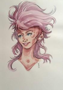 A girl - aquarelle format A4 - 30€