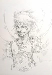 Winged boy - crayon gris