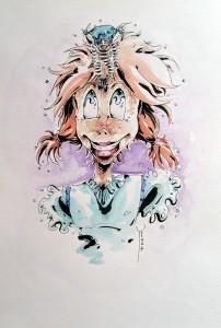 Belle Couette et Rêveur - aquarelle format A4 - 25€