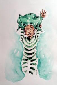 Rêveur - aquarelle format A4 - 35€