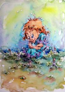 Belle Couette et les invisibles - aquarelle Format A4 - 80€