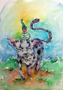 Promenade à dos de chat - aquarelle format A4 - 80€