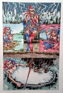 Harley Quinn page - aquarelle et feutres à alcool format 32x47cm - 250€