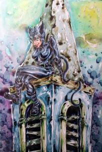 Catwoman on church - aquarelle et feutres à alcool format 32x47cm - 150€