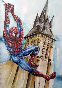 Jumping Spider-man - aquarelle et feutres à alcool format 32x47cm - 100€