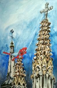 Spider-man on the roof - - aquarelle et feutres à alcool format 32x47cm - 120€
