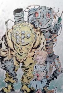 Bioshock tribute - - aquarelle et feutres à alcool format 32x47cm - 170€