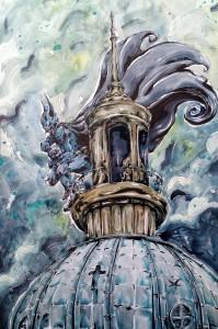 Batman on the church - - aquarelle et feutres à alcool format 32x47cm - 120€